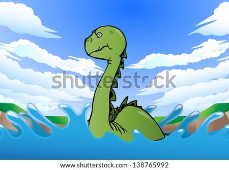 illustration of a dinosaur swimming on nature background - stock photo