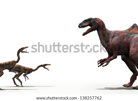 Illustration of a dinosaurs isolated on a white background  - stock photo