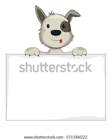 Illustration of a dog holding banner - stock photo