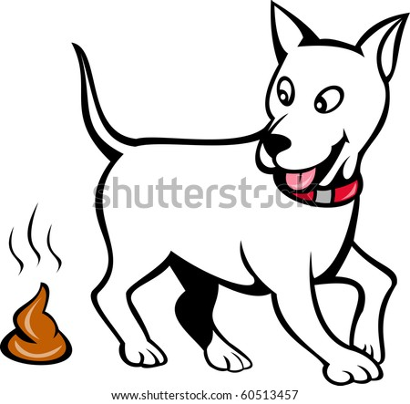 illustration of a dog with poo isolated on white - stock photo