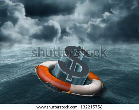 Illustration of a dollar symbol being saved from stormy weather - stock photo