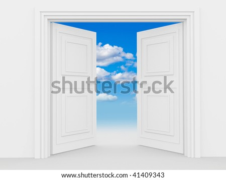illustration of a double door with a blue sky and some clouds - stock photo