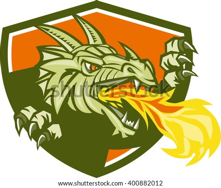 Illustration of a dragon head breathing fire looking to the side set inside shield crest done in retro style.  - stock photo