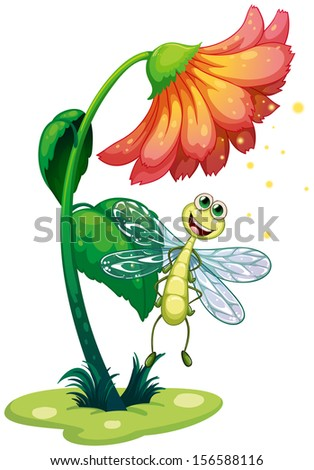 Illustration of a dragonfly flying under the flower on a white background