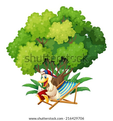 Illustration of a duck reading under the tree on a white background - stock photo