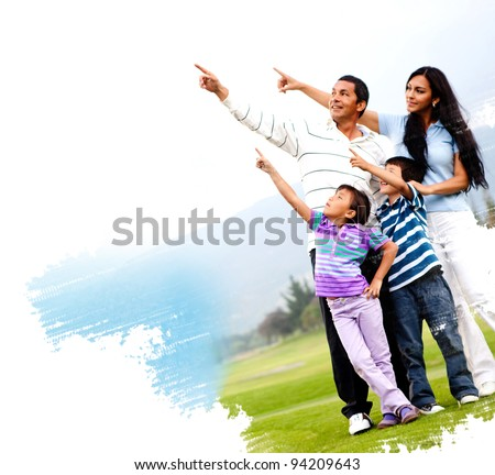 Illustration of a family outdoors in a green field pointing - stock photo