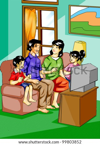 Illustration of a family watching television