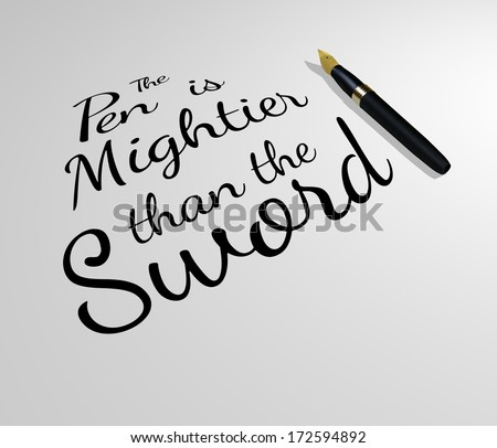Illustration of a famous quote with a pen - stock photo