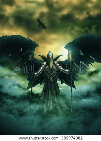 Illustration of a fantasy evil spirit wearing armour and with bat/bird wings. Digital painting. - stock photo