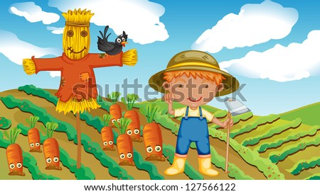 illustration of a farmer with a scarecrow and a bird - stock photo