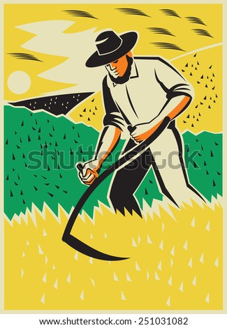 Illustration of a farmer with scythe working the farm field harvesting reaping crop harvest done in retro style with clouds birds in the background - stock photo