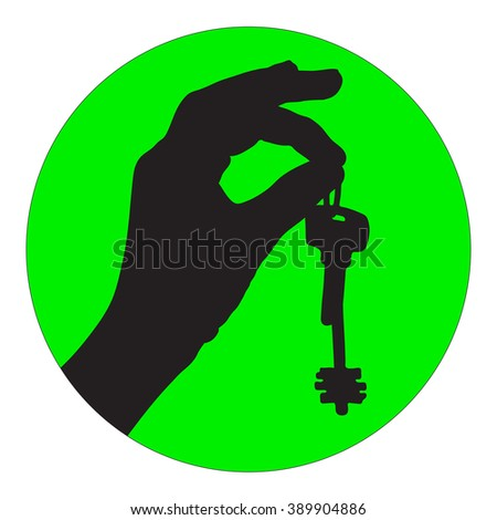 illustration of a female hand with two keys from the house - stock photo