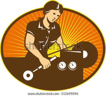 Illustration of a female machinist factory worker working on lathe machine set inside ellipse done in retro style. - stock photo