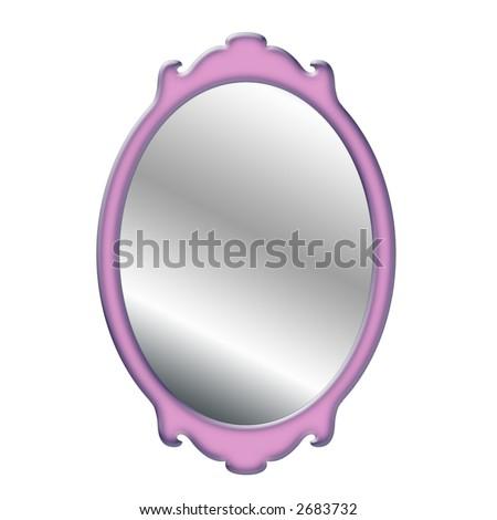 Illustration of a Feminine Pink Mirror - stock photo