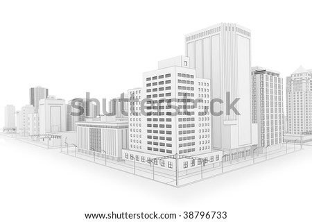 Illustration of a fictional city in a 'blueprint' outline style - stock photo