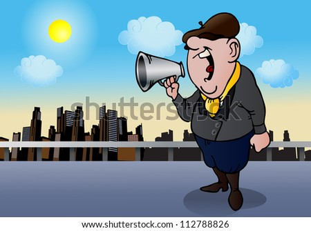 illustration of a film director yell  to his team try to make a good movie on city background - stock photo