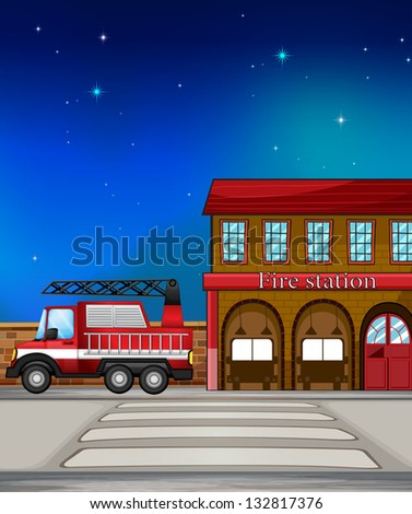Illustration of a fire truck near the fire station - stock photo