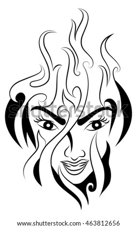 illustration of a fire woman tattoo on her head isolated on white background