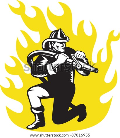 illustration of a fireman firefighter kneeling aim fire hose with flames in background done in retro woodcut style - stock photo