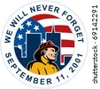 "illustration of a fireman firefighter silhouette pointing to twin tower world trade center wtc building American stars and stripes flag in background words ""we will never forget September 11 2001"" - stock vector"