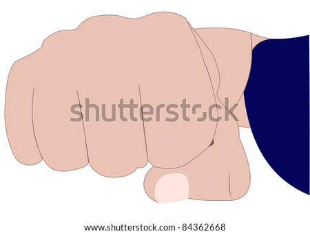 Illustration of a fist and hand part on a white background - stock photo