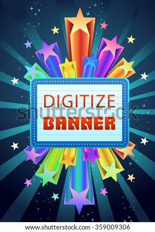 illustration of  a flashy digitize banner sign board - stock photo