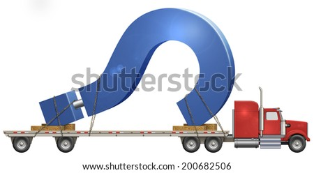 Illustration of a flatbed truck carrying a question mark.    - stock photo