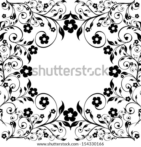 illustration of a floral ornament on white background - stock photo