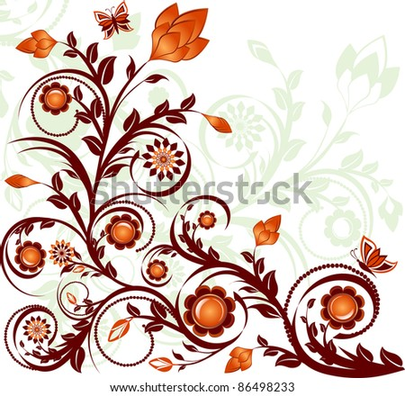 illustration of a floral ornament with butterflies. Raster version - stock photo