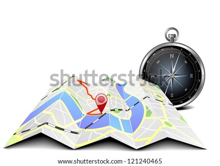 illustration of a folded city map with compass
