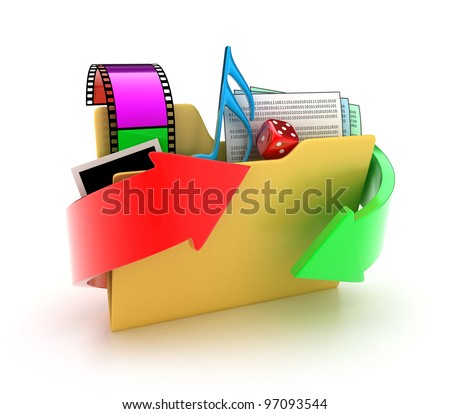 Illustration of a folder with different files on a white background - stock photo