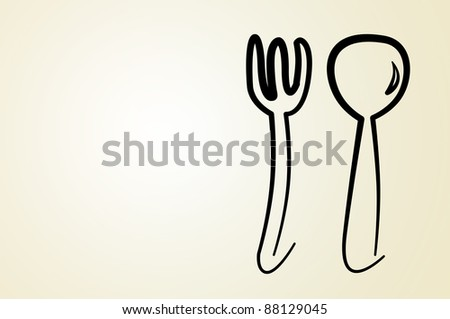 illustration of a fork and a spoon on a gradient background