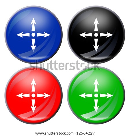 illustration of a four arrows button in four colors