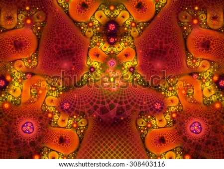 illustration of a fractal background with floral ornament