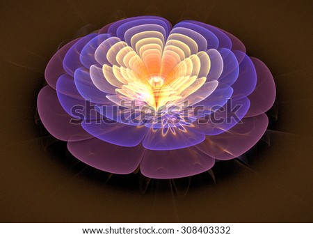 illustration of a fractal fantastic bright shiny flower - stock photo