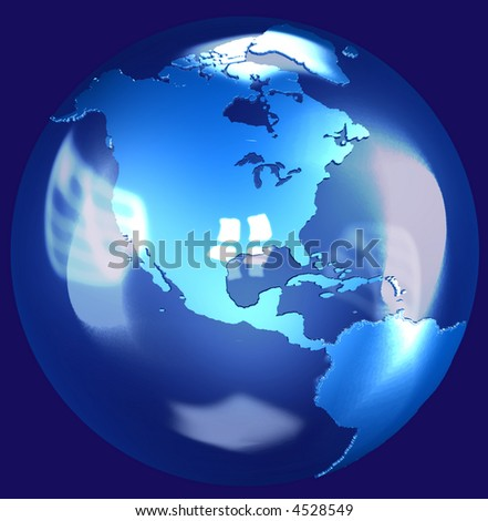 Illustration of a fragile Blue Glass Earth Globe shining in space, a 3D render. - stock photo