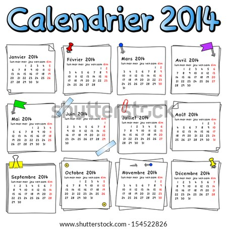 illustration of a french calendar 2014 week starts on Monday