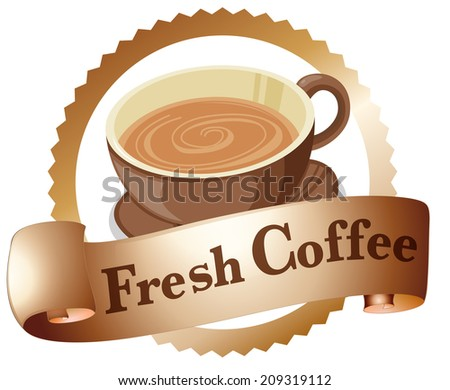 Illustration of a fresh coffee label on a white background - stock photo
