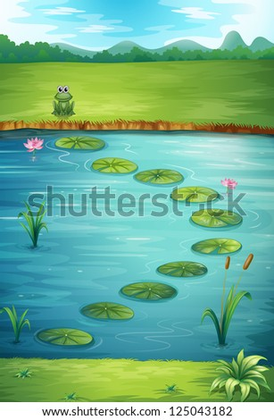 Illustration of a frog and a lake in a beautiful nature