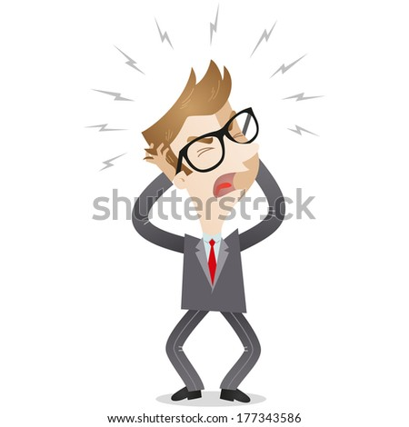 Illustration of a frustrated cartoon businessman screaming and tearing his hair  - stock photo
