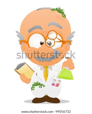 illustration of a funny scientist - stock photo