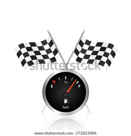 Illustration of a gas gage and checkered flags isolated on a white background. - stock photo