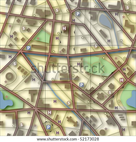 Illustration of a generic city without names - stock photo