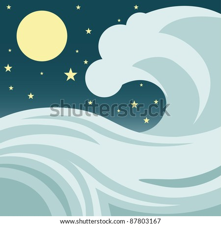 Illustration of a giant tsunami or tidal wave in the ocean against a night sky with stars and a full moon. Raster. - stock photo