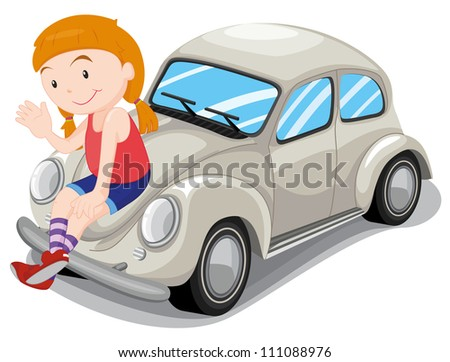 illustration of a girl and car on a white background