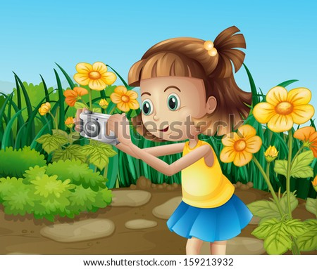 Illustration of a girl taking photos at the garden