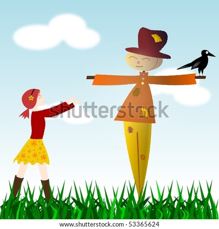 Illustration of a girl walking towards a smiling scarecrow