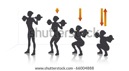 Illustration of a girl who exercise squat with weights. - stock photo