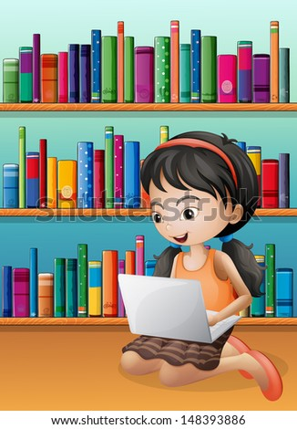 Illustration of a girl with a laptop in front of the wooden shelves