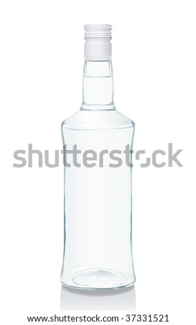 Illustration of a glass bottle with Russian vodka. You can find many various types of realistic vector illustrations of wine bottles in my portfolio